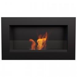 Biocamino 64x40 cm nero con vetro e bruciatore da 0,5 litri
