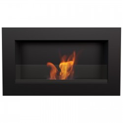 Biocamino 64x40 cm nero con bruciatore da 0,5 litri con vetro