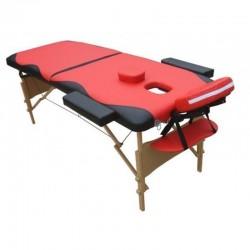 LETTINO MASSAGGIO 2 ZONE 6 cm. imbottitura,CM011B,portatile, rosso nero, professionale,+ borsa custodia trasporto