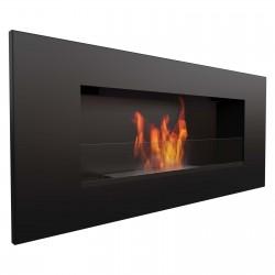 Biocamino nero opaco con vetro 90x40 cm da parete Delta 2 bruciatore da 1,2 litri