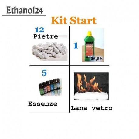 Kit Start 1 Litro Bioetanolo + pietre decorative + 5 essence + lana di vetro