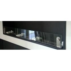 Vetro frontale 80cm x 10 cm + 2 staffe in acciaio - vetro per biocamini