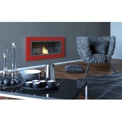 Biocamino 90x40 cm con vetro da parete rosso