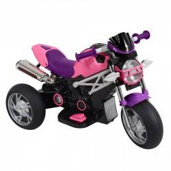 Moto Motocicletta Elettrica Naked Rosa 6V Per Bambini Dugez