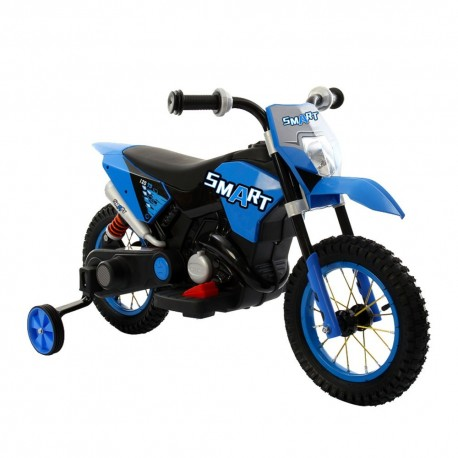 Moto Motocicletta Elettrica 6V Per Bambini Minicross Blu Dugez