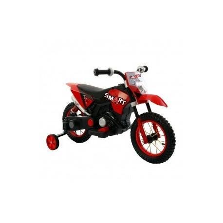 Moto Motocicletta Elettrica 6V Per Bambini Minicross Rosso Dugez