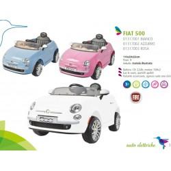 Auto Macchina Elettrica Fiat 500 Rosa 12V Per Bambini