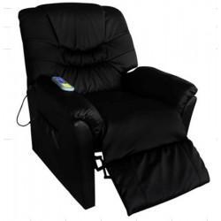 POLTRONA nera MASSAGGIANTE CAMILLA SP952, Poltrona relax ,riscaldata vibrante, ecopelle , poltroncina TV , massaggi