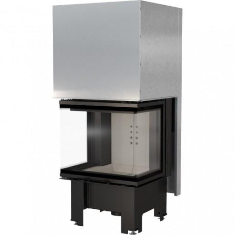 Biocamino 110 cm x 40 cm colore Nero con Vetro